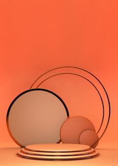 기하학적 플랫폼이있는 실린더 추상 최소한의 스탠드. 연단 여름 배경 3d 렌더링입니다. 화장품을 보여주는 실린더. 받침대 현대 3d 스튜디오 오렌지 파스텔에 쇼케이스 스탠드