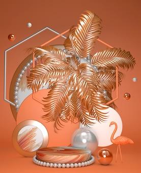 기하학적 플랫폼과 플라밍고와 실린더 밝은 오렌지 추상 최소한의 연단 제품을 표시하는 야자수 수직 여름 개념 배경 3d 렌더링