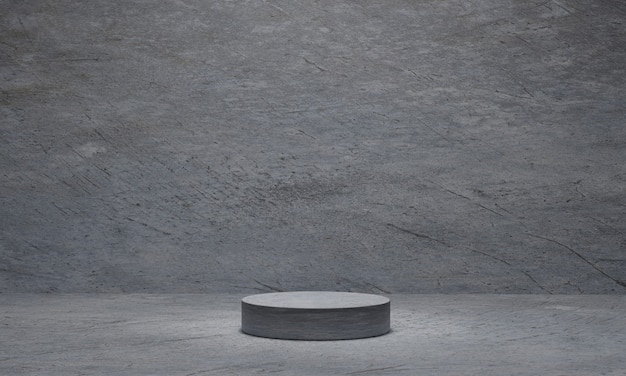Cylinder concrete pedestal on grey cement