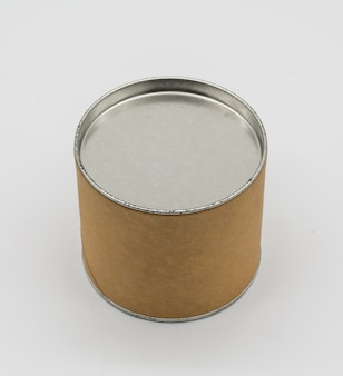 Cylinder container with metal or tin lid isolated on white