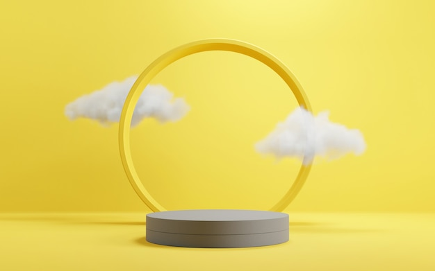 Cylinder geometric podium stage in yellow and grey backgrounds