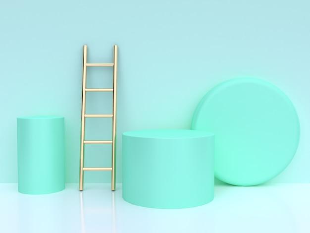 Cylinder gold ladder green scene 3d render