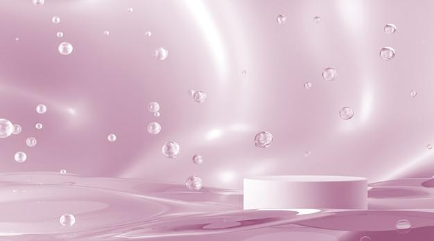 Цилиндрическая платформа на розовой волне и пузырях фон абстрактный фон для презентации