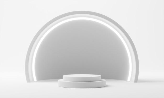 흰색 배경에서 실린더 연단 무대