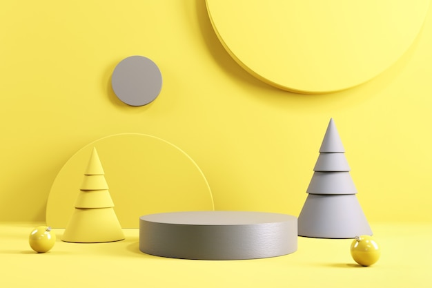 노란색과 회색 배경의 실린더 연단 무대.