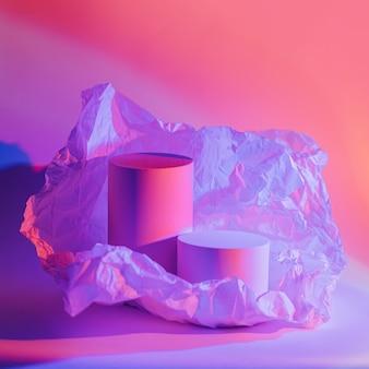 ネオンの光の中でしわくちゃの紙でシリンダー表彰台。製品を表示するスタイリッシュな幾何学的形状。抽象的な背景
