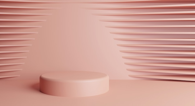 분홍색 배경의 실린더 연단 화장품 쇼케이스를 보여주는 장면