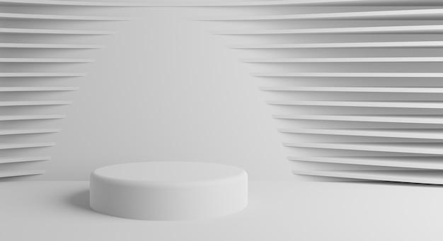 흰색 배경의 실린더 연단 화장품 쇼케이스를 보여주는 장면