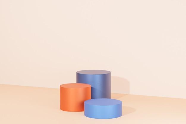 파스텔 베이지색 배경의 제품 또는 광고용 실린더 연단 또는 받침대, 3d 렌더