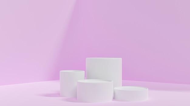 실린더 연단 또는 분홍색 배경에 표시. 기하학적으로 추상 최소한의 장면. 빈 공간을 디자인하십시오.