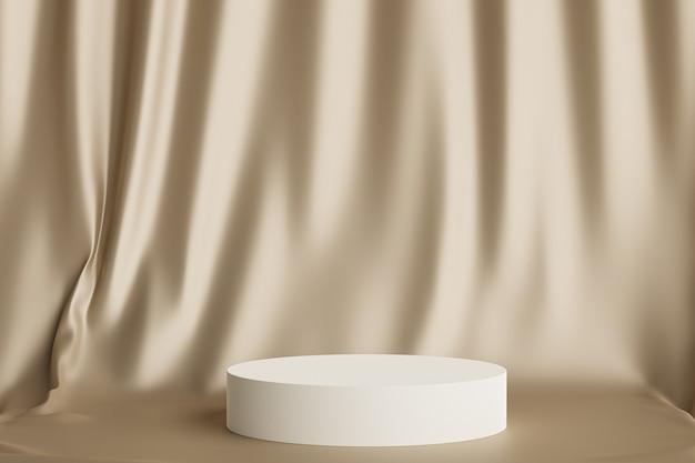 光沢のあるベージュのカーテンの背景に製品や広告を表示するための円筒形の表彰台または台座、最小限の3dイラストレンダリング