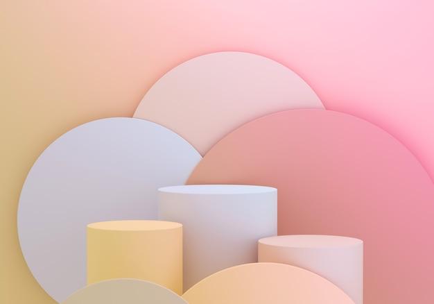 제품 디스플레이용 실린더 받침대는 재미있는 원 분홍색과 노란색 배경에 표시됩니다. 빈 연단 플랫폼입니다.