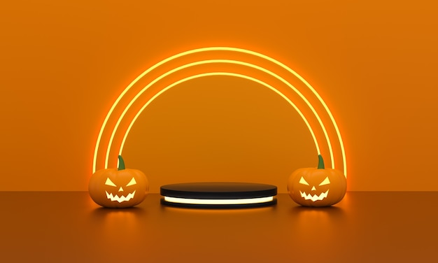 Cylinders pedestal with light neon and pumpkins halloween for product display on funny circles light on orange background. empty podium platform. 3d rendering.