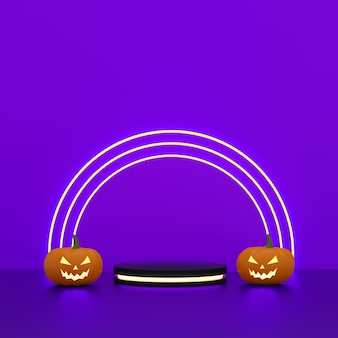 Cylinders podium with light neon and halloween pumpkins for product display with circles light on purple background. 3d rendering.