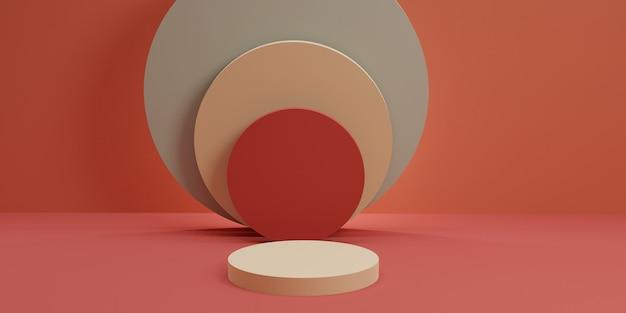 ピンクの壁の3dレンダリングによる円筒形の表彰台