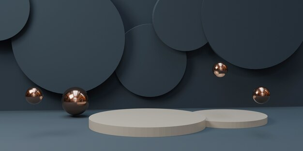 波状の円筒形の表彰台