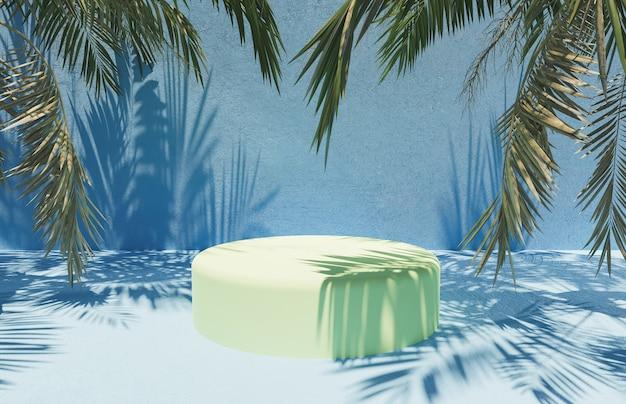 야자수 잎 주위에 파란색 시멘트 표면이있는 제품 프레젠테이션을위한 원통형 스탠드