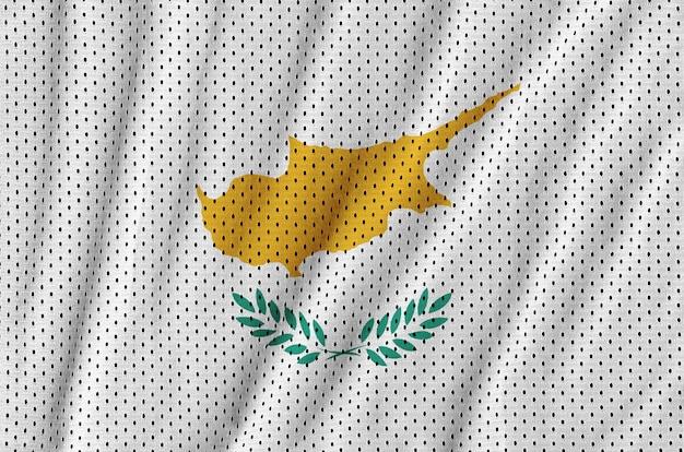 Cyprus flag printed on a polyester nylon sportswear mesh fabric