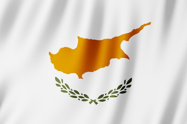 Cyprus flag waving in the wind.