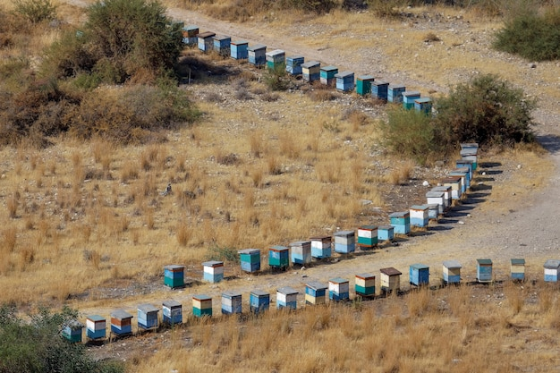 Cyprus, greece, europe - july 21 : two lines of beehives in cyprus on july 21, 2009