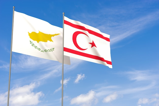 Cyprus and turkish republic of northern cyprus flags over blue sky background. 3d illustration