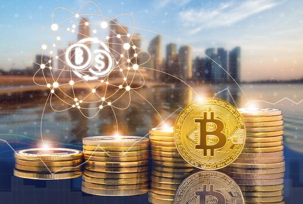 Cyptocurrencyデジタルコイントレーディングと為替市場の概念。