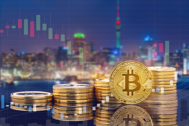 Cyptocurrency digital coin trading and exchange market concept.