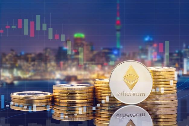 Cyptocurrency цифровой торговли монетами и концепции биржевого рынка.