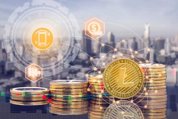 Cyptocurrency цифровой монеты для торговли и биржевого рынка концепции.