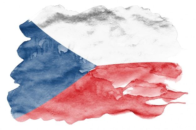 Czech flag  is depicted in liquid watercolor style isolated on white