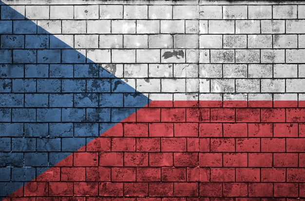 Czech flag is painted onto an old brick wall