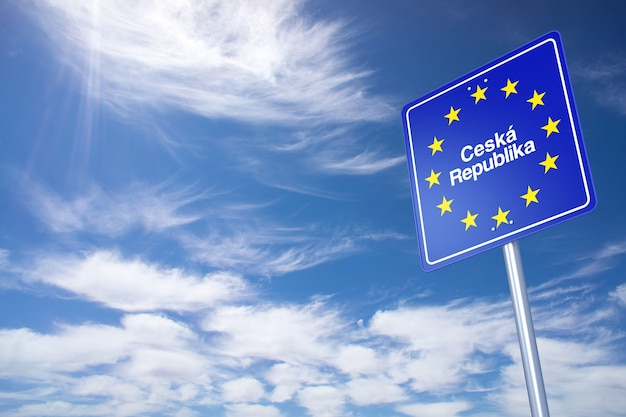 Czech republic border sign with clouds sky. 3d rendering