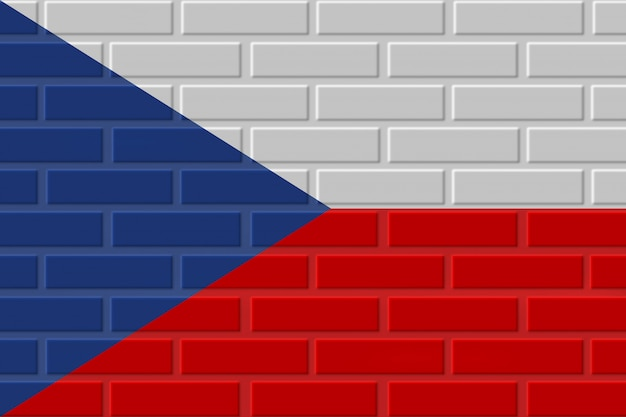 Czech republic brick flag illustration