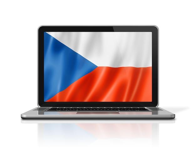 Czech republic flag on laptop screen isolated on white. 3d illustration render.