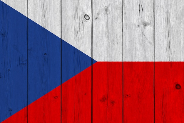 Czech republic flag painted on old wood plank