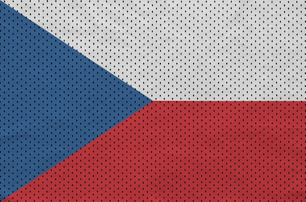 Czech republic flag printed on a polyester nylon sportswear mesh