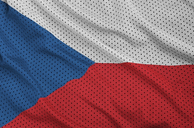 Czech republic flag printed on a polyester nylon sportswear mesh