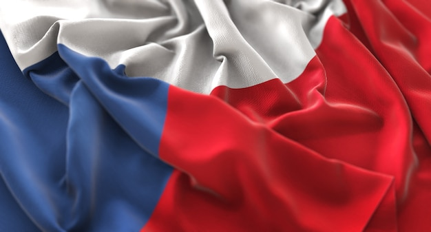 Czech republic flag ruffled beautifully waving macro close-up shot