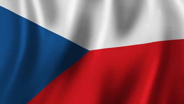 Czech republic flag waving closeup 3d rendering with highquality image with fabric texture
