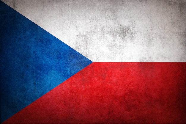 Czech republic flag with grunge texture.
