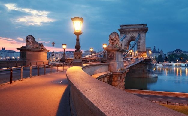 Czechenyi chain bridge in budapest, hungary, at dawn