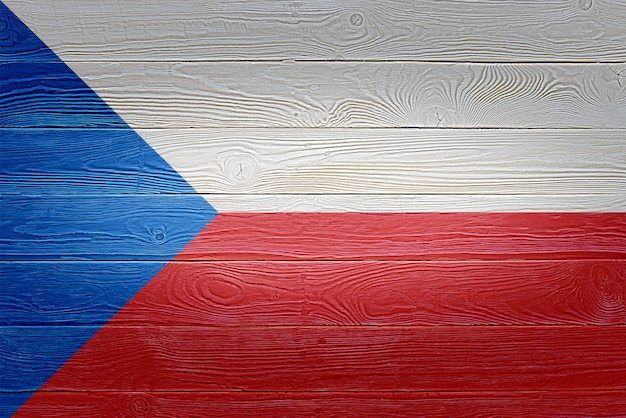 Czechia flag painted on old wood plank background