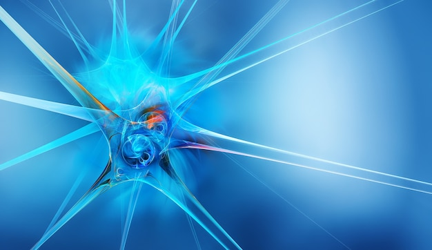 D abstract neuron on a blue background as a conceptual abstract medical background