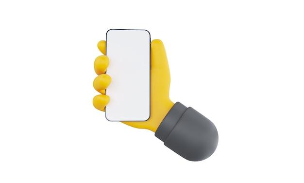 흰색 배경에 고립 된 스마트 폰을 들고 d 만화 손 휴대 전화 모형 d 렌드를 사용...