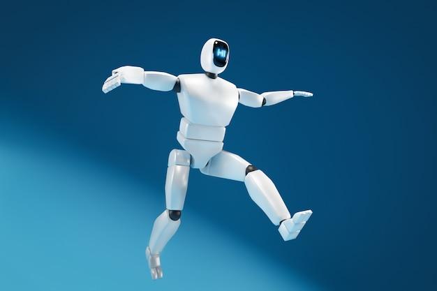 다른 각도에서 얼굴에 모니터가 있는 d 그림 로봇