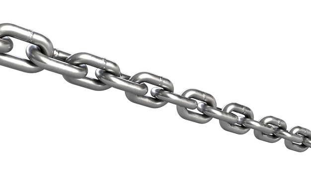 D illustration of chain isolated on white background