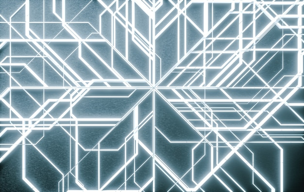 D иллюстрация футуристический и цифровой абстрактный фон с белыми неоновыми огнями