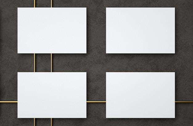 현대 빈 흰색 명함 명함 디자인 서식 파일의 D 그림 모형 프리미엄 사진