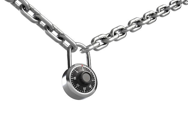 D иллюстрация комбинации замка на цепи, изолированной на белом