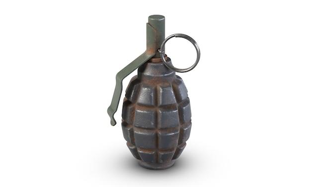 D иллюстрация осколочной гранаты f, изолированной на белом фоне